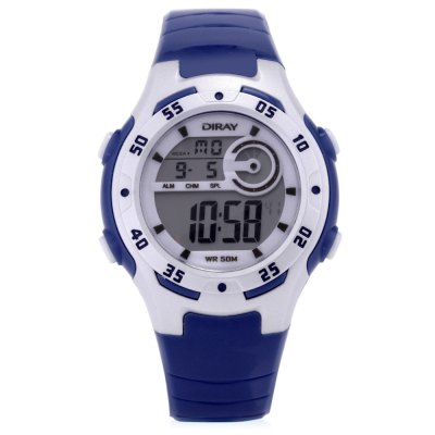 DIRAY DR - 201 Children Digital Sport WatchKids Watches<br>DIRAY DR - 201 Children Digital Sport Watch<br><br>Band Length: 7.5 inch<br>Band Material Type: PU<br>Band Width: 16mm<br>Case material: Plastic<br>Case Shape: Round<br>Clasp type: Pin Buckle<br>Dial Diameter: 1.37 inch<br>Dial Display: Digital<br>Dial Window Material Type: Plastic<br>Feature: Alarm,Auto Date,Back Light,Chronograph,Day<br>Gender: Children<br>Movement: Digital<br>Style: Sport<br>Water Resistance Depth: 50m<br>Product weight: 0.030 kg<br>Package weight: 0.108 kg<br>Product Size(L x W x H): 22.50 x 4.00 x 1.00 cm / 8.86 x 1.57 x 0.39 inches<br>Package Size(L x W x H): 8.00 x 8.00 x 8.00 cm / 3.15 x 3.15 x 3.15 inches<br>Package Contents: 1 x DIRAY DR - 201 Children Digital Watch