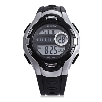 DIRAY DR - 202 Children Digital Sport WatchKids Watches<br>DIRAY DR - 202 Children Digital Sport Watch<br><br>Band Length: 7.87 inch<br>Band Material Type: PU<br>Band Width: 16mm<br>Case material: Plastic<br>Case Shape: Round<br>Dial Diameter: 1.5 inch<br>Dial Display: Digital<br>Dial Window Material Type: Plastic<br>Feature: Alarm,Auto Date,Back Light,Chronograph,Day<br>Gender: Children<br>Movement: Digital<br>Style: Sport<br>Water Resistance Depth: 50m<br>Product weight: 0.033 kg<br>Package weight: 0.111 kg<br>Product Size(L x W x H): 23.00 x 4.00 x 1.00 cm / 9.06 x 1.57 x 0.39 inches<br>Package Size(L x W x H): 8.00 x 8.00 x 8.00 cm / 3.15 x 3.15 x 3.15 inches<br>Package Contents: 1 x DIRAY DR - 202 Children Digital Sport Watch