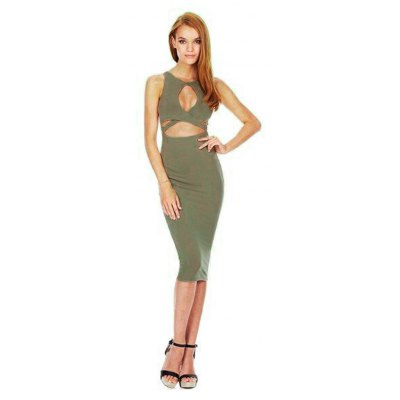 Jewel Neck Sleeveless Hollow Out Pure Color Bodycon Women Midi Dress
