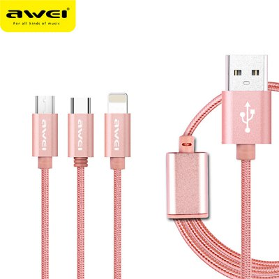 Awei CL - 970 1.2M Micro USB 8 Pin Type-C Cable