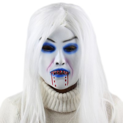 Horror White Witch Ghost Latex Mask Masquerade Halloween Party Bar Supply