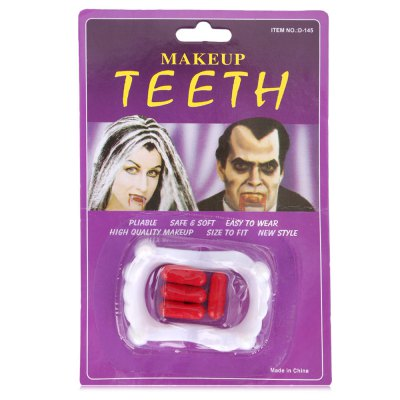 Fake Teeth Fangs with Blood Pills