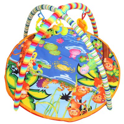 Kids Soft Play Mat Cartoon Animal Gym Blanket with Frame Rattle