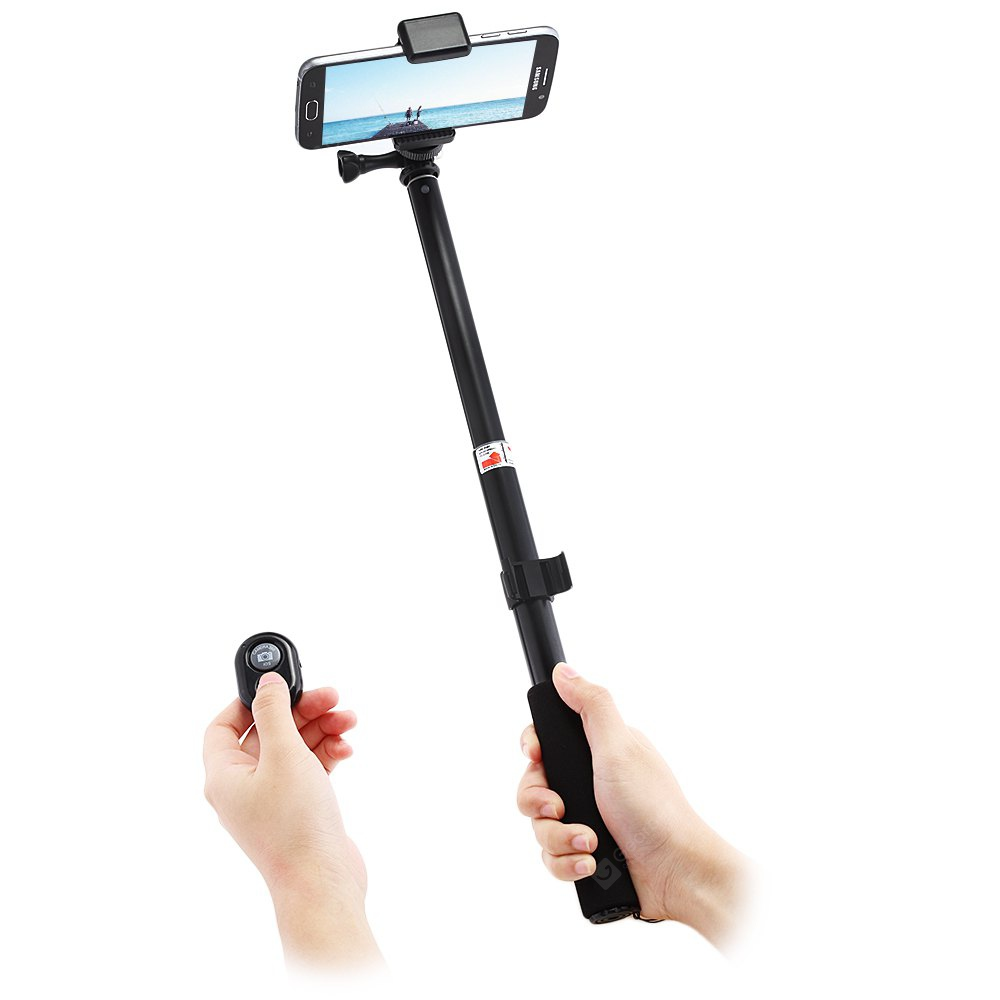 buy folding metal selfie stick bluetooth remote camera shutter black at gearbest. Black Bedroom Furniture Sets. Home Design Ideas
