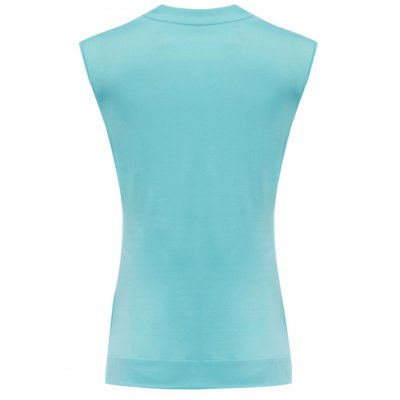 Trendy Pile Collar Sleeveless with Tube Top Pleated Patchwork Color Block Women T-shirt