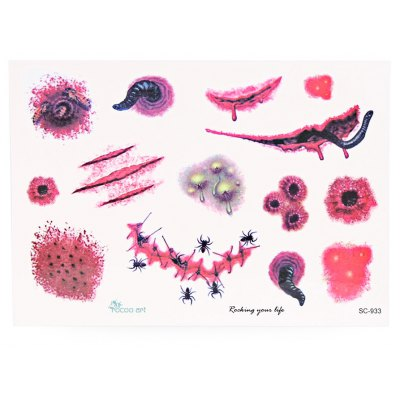 Waterproof Temporary Bloody Tattoo Stickers Horror for Halloween Spider Makeup Body Art
