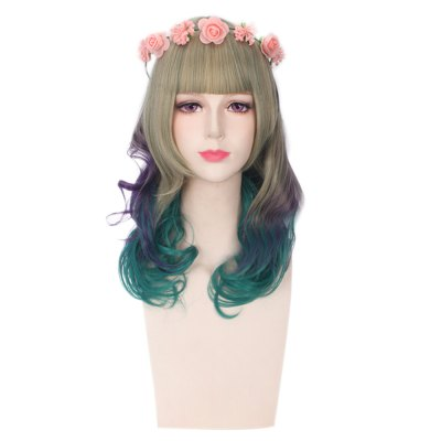 Harajuku Sweet Long Wavy Mixed Colors Wigs with Wreath Synthetic Hair for Cosplay Halloween Masquerade