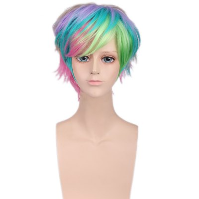 Handsome Harajuku Rainbow Mixed Colors Short Wigs Synthetic Hair