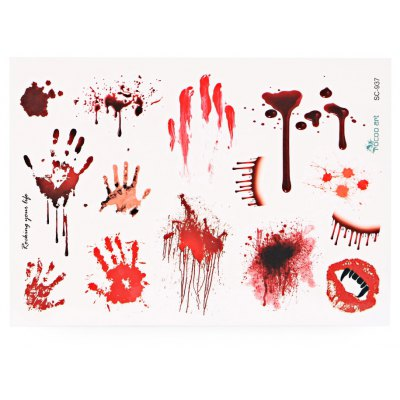 Waterproof Temporary Bloody Tattoo Stickers Horror Scar