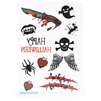 Diverse Waterproof Temporary Bloody Tattoo Stickers Horror for Halloween Makeup Body Art