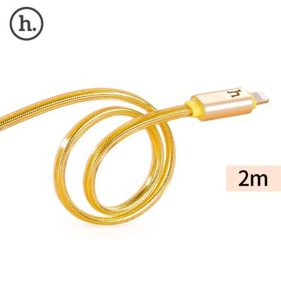 HOCO UPL12 2.4A Metal Braided LED Light Cable for iPhone 2M