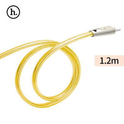 HOCO UPL9 2.4A Zinc Alloy Jelly Texture Braided Cable with Light for iPhone 1.2M