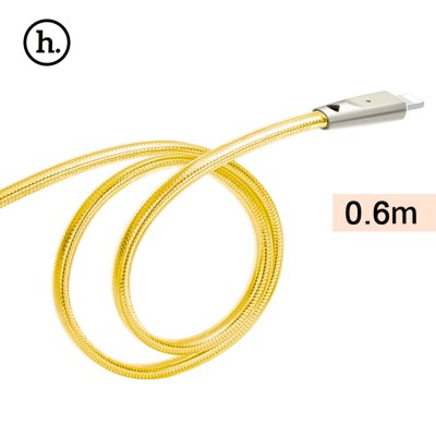HOCO UPL9 2.4A Zinc Alloy Jelly Texture Braided Cable with Light for iPhone 0.6M