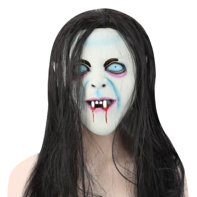 Horror Latex Mask with Wig Hair for The Grudge Sadako Ghost Figure Masquerade Halloween Party