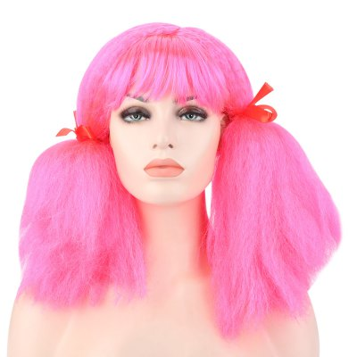 Women Medium Fluffy Curly Red Wigs with Bangs Braids for Window Models Cosplay Halloween Masquerade