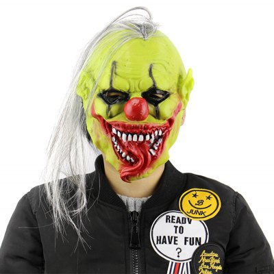 Horror Green Face Clown Latex Mask with Wig Hair