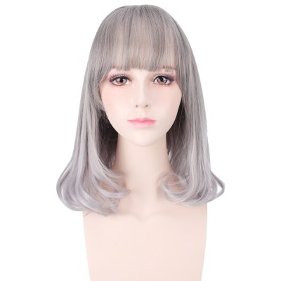 Ombre Long Straight Grey Wigs with See-through Bangs