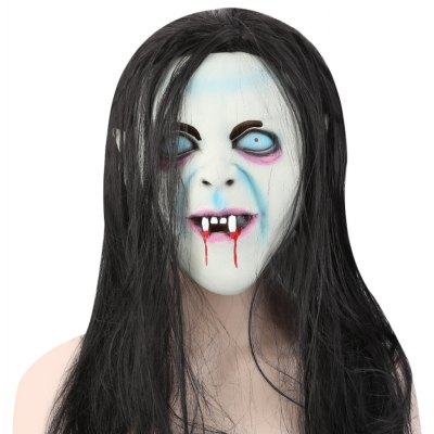 Horror Latex Mask with Wig Hair Masquerade Halloween Party