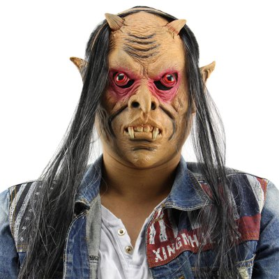 Horror Funny Red Eyes Devil Latex Mask with Wig for Masquerade Halloween Party Bar