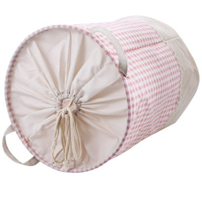 Cotton Linen Checked Pattern Storage Basket