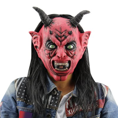 Horror Funny Satan Devil Latex Mask with Wig Ox Horn for Masquerade Halloween Party Bar
