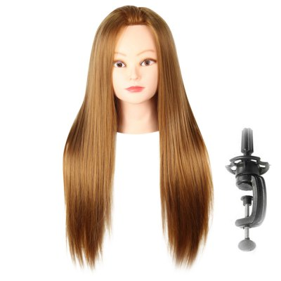 Long Straight Side Parting Wigs with Stand Hair Training Head Makeup Braiding Practice Mannequin Hairdressing Styling De