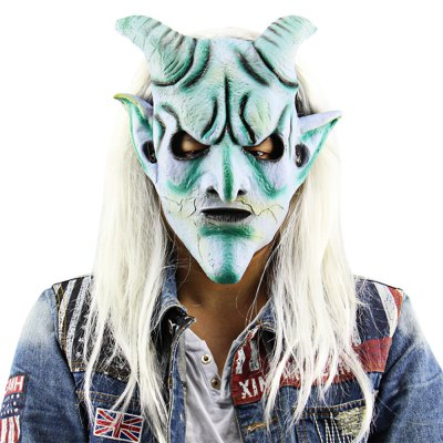 Scary Funny Silver Horn King Ghost Mask with Long Wig Haunted House for Masquerade Halloween Costume Party Bar