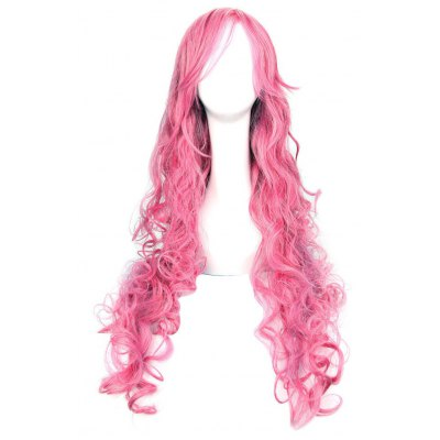 Anime Long Pink Curly Wigs with Ponytail