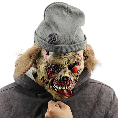 Creepy Funny Undead Zombie Old Man Latex Mask with Hat for Masquerade Halloween Costume Party Bar