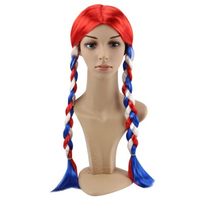 Women Long Mixed Colors Wigs Flag Braids Hairstyle for Street Shooting Cosplay Halloween Masquerade