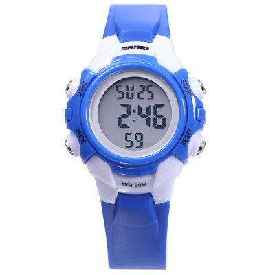 SKMEI 1183 Children Digital WatchKids Watches<br>SKMEI 1183 Children Digital Watch<br><br>Band Length: 8.07 inch<br>Band Material Type: Rubber<br>Band Width: 14mm<br>Case material: Plastic<br>Case Shape: Round<br>Clasp type: Pin Buckle<br>Dial Diameter: 1.18 inch<br>Dial Display: Digital<br>Dial Window Material Type: Plastic<br>Feature: Alarm,Back Light,Chronograph,Date,Day<br>Gender: Children<br>Movement: Digital<br>Style: Simple<br>Water Resistance Depth: 50m<br>Product weight: 0.023 kg<br>Package weight: 0.106 kg<br>Product Size(L x W x H): 23.50 x 3.50 x 1.00 cm / 9.25 x 1.38 x 0.39 inches<br>Package Size(L x W x H): 8.00 x 8.00 x 8.00 cm / 3.15 x 3.15 x 3.15 inches<br>Package Contents: 1 x SKMEI 1183 Children Digital Watch
