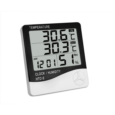HTC - 2 Digital Temperature Humidity Meter Alarm Clock