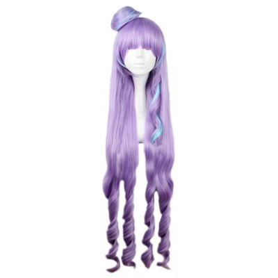 Women Long Mixed Color Purple Blue Wigs Full Bangs Anime Cosplay Hair for Macross Delta Figure