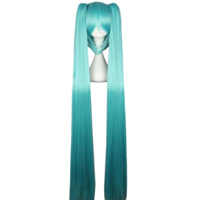 Women Long Straight Blue Full Wigs with Bangs  2 Ponytails Anime Cosplay Hair for Vocaloid Hatsune Miku Figure