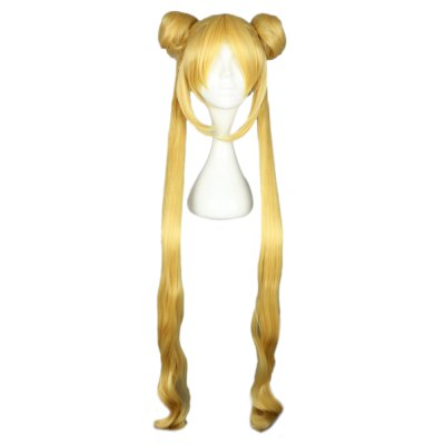 Women Long Yellow Wigs with 2 Ponytails Double Bun Hair