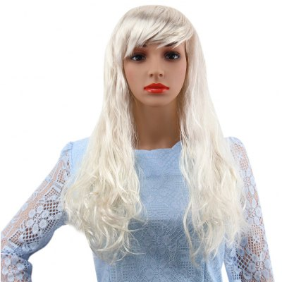 Girl Long Curly Big Wavy Off-White Wigs