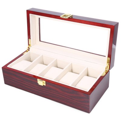 5 Grids Wooden Watch Display Box
