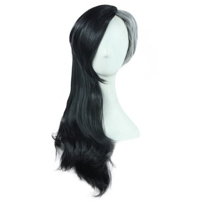 Long Nature Black Gray Wigs Side Bangs