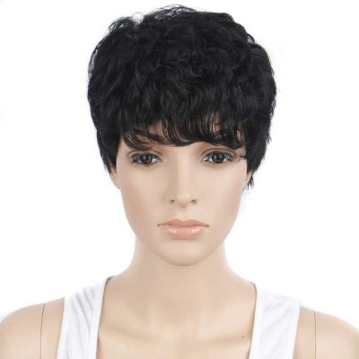 Handsome Short Curly Full Bangs Black Wigs