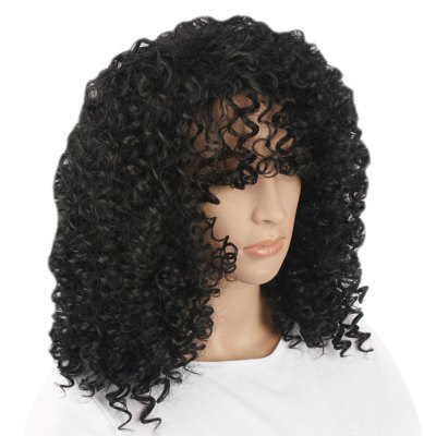 Long Water Wave Black Wigs Synthetic Hair