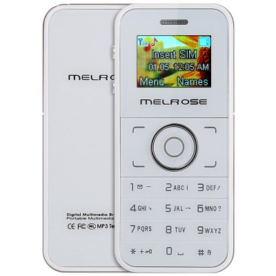 MELROSE M1 Card PhoneFeatured Phones<br>MELROSE M1 Card Phone<br><br>Brand: MELROSE<br>Battery Capacity(mAh): 3.7V / 450mAh<br>Battery Type: Detachable<br>Cellular: GSM<br>CPU: Single Core<br>Design: Bar<br>Feature: Bluetooth,FM radio,GPRS,Memory Card Slots,Message<br>Item Condition: New<br>RAM: &lt;128M<br>ROM: &lt;2G<br>Product weight: 0.036 kg<br>Package weight: 0.177 kg<br>Product Size(L x W x H): 7.60 x 3.30 x 1.30 cm / 2.99 x 1.3 x 0.51 inches<br>Package Size(L x W x H): 14.00 x 8.00 x 6.00 cm / 5.51 x 3.15 x 2.36 inches<br>Package Contents: 1 x Card Phone, 1 x USB Cable, 1 x Earphone, 1 x Battery