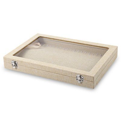 Linen Jewelry Ring Watch Display Box