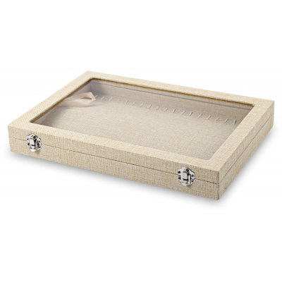 Linen Jewelry Wristwatch Display Case with 20 Clasps