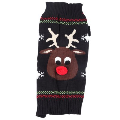 Cartoon Christmas Deer Pattern Pet Dog Cotton Coat