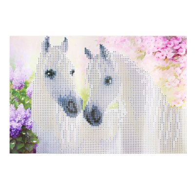 35 x 25cm Two White Horse 5D Embroidery Diamond Stitch Tool