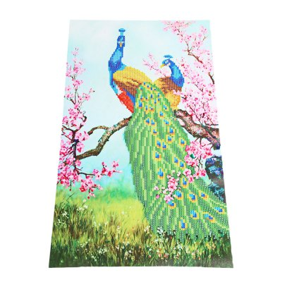 54 x 30cm Lover Peacock 5D Embroidery Diamond Stitch Tool