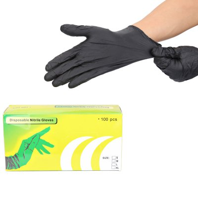100pcs Black Medium Size Tattoo Silicone Disposable Nitrile Gloves