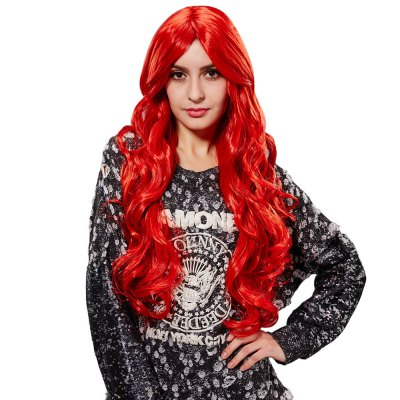 European Women Texture Long Curly Red Wigs Wave Perms Synthetic Hair