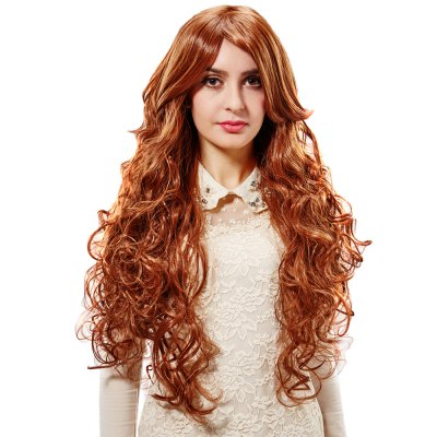 European Women Texture Long Curly Golden Brown Wigs Wave Perms Synthetic Hair
