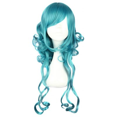 Harajuku Cute Long Anti-alice Curly Green Wigs Synthetic Hair for Cosplay Halloween Costume Masquerade